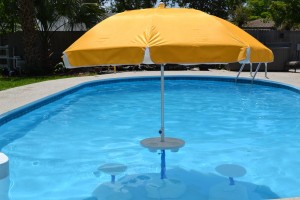 Aqua Party Bar with Yellow Umbrella