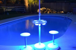 Optional Blue LED Pool Table Aqua Party Bar
